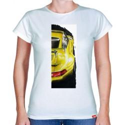 Autorské tričko s potiskem dámské Porsche žluté (Libor Hotar)