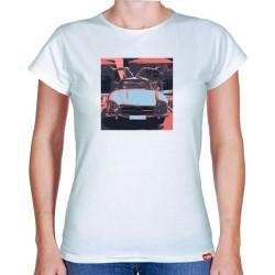 Tričko s potiskem dámské Mercedes Benz Gullwing černočervené
