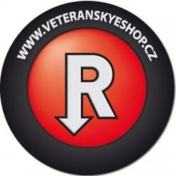 Samolepka kulatá logo červené Veteránský eshop
